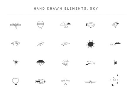 Set of hand drawn vector elements. Sky sports theme.