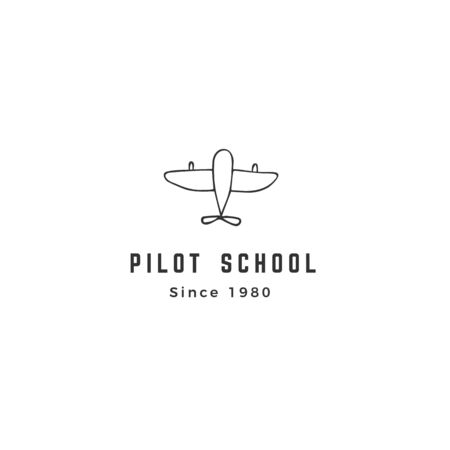Aircraft  template. Hand drawn isolated vector icon, a plane.