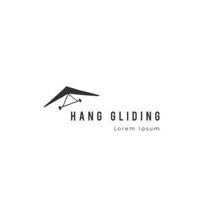 Sky sports template. Hand drawn vector isolated icon. Hang gliding.