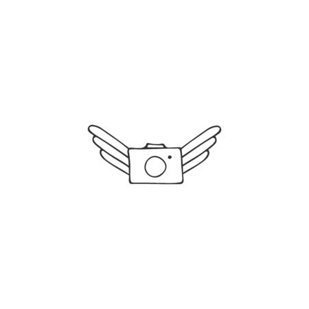 Flying photo camera. Hand drawn vector icon. Aerial photography element.