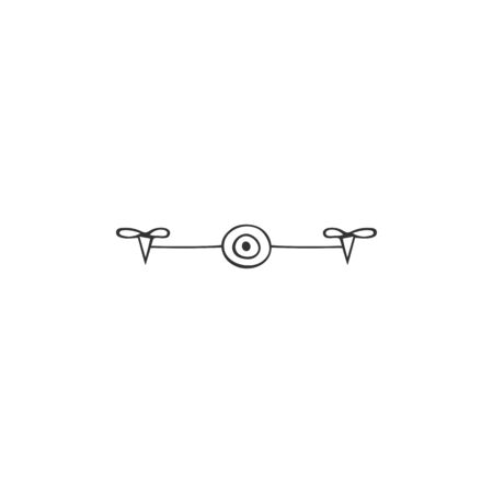 Hand drawn vector icon. Photo camera drone. Aerial photography element.
