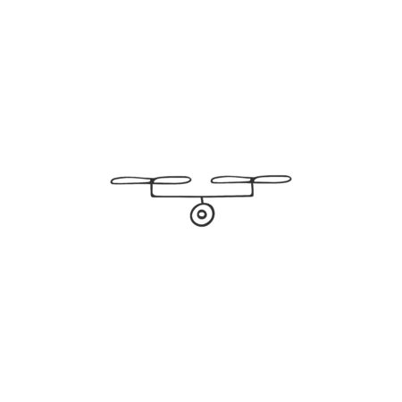 Hand drawn vector icon. Aerial photography   element. Photo camera drone. Ilustracja