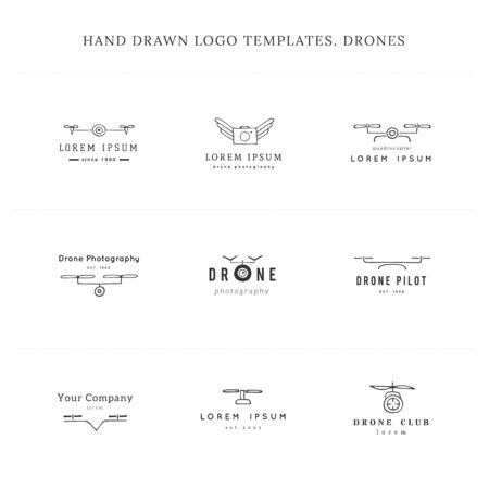 Set of hand drawn vector  templates. Camera drones. Aerial photography. Ilustracja