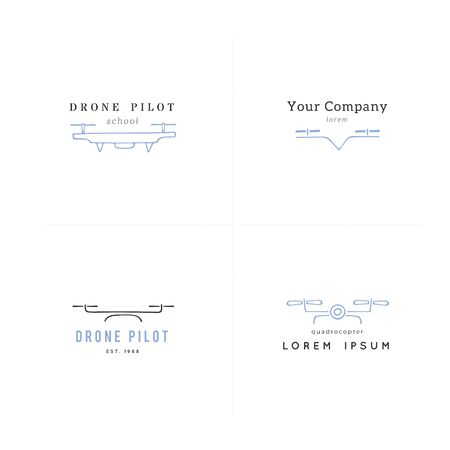 Collection of camera drones. Hand drawn vector templates. Aerial photography. For business identity and branding, for drone flight schools, photographers and drone shops.