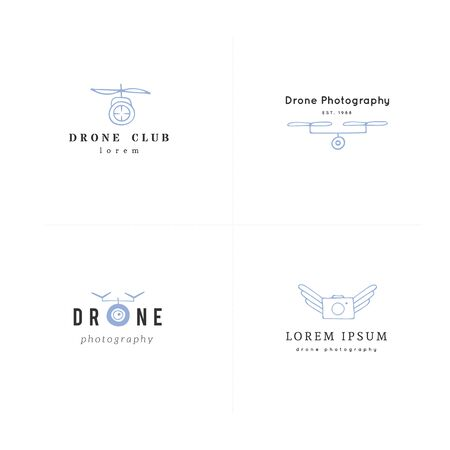 Hand drawn vector templates. Aerial photography. Collection of camera drones. For business identity and branding, for drone flight schools, photographers and drone shops. Ilustracja