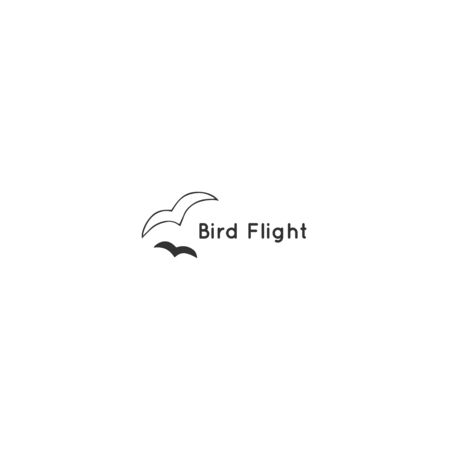 Minimal  template. Hand drawn isolated vector icon, two birds. Ilustracja