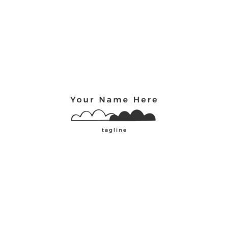 Hand drawn vector icon, clouds in the sky. Minimal premade  template.