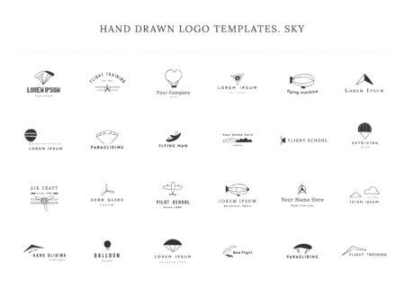 Set of hand drawn vector logo templates. Sky sports.