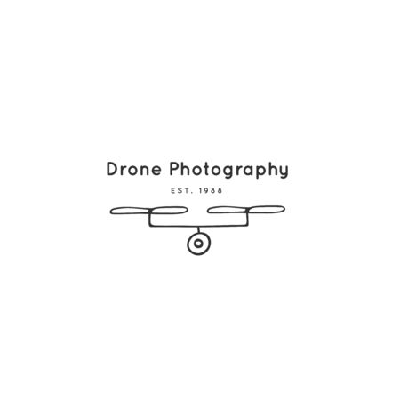 Hand drawn vector icon template. Photo camera drone. Zdjęcie Seryjne - 137845089