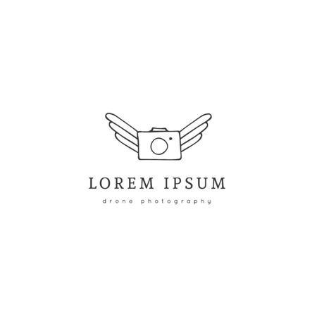 Flying photo camera. Aerial photography icon template. Hand drawn vector icon. Ilustracja