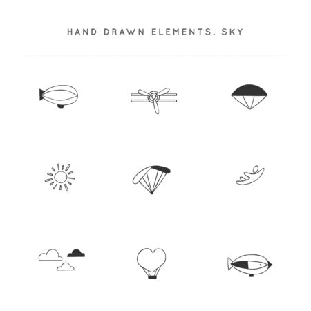 Sky sports. Set of vector hand drawn icon elements.