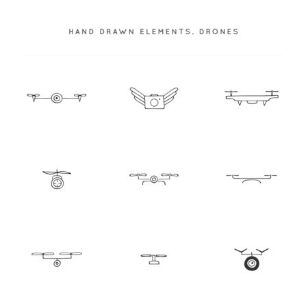 Set of vector icons. Hand drawn camera drones. Aerial photography.