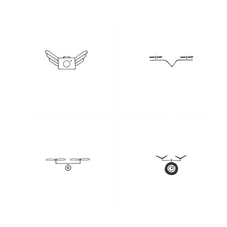 Set of vector icons. Aerial photography. Hand drawn camera drones.