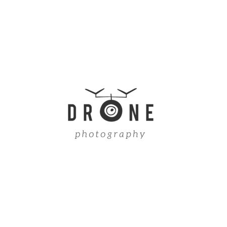 Hand drawn vector logo template with camera drone icon. Иллюстрация