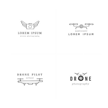 Camera drones. Aerial photography. Set of hand drawn vector logo templates.