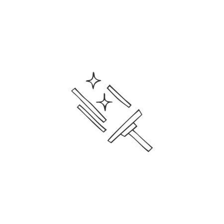 Housekeeping and home repairs theme. Vector hand drawn icon for window cleaning service.