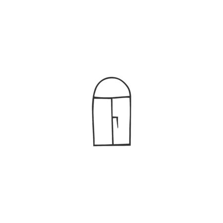 Window icon. Vector hand drawn illustration. Housekeeping and home repairs.