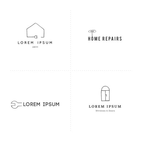 Housekeeping and home repairs logo templates. Vector set of hand drawn icons. Ilustração
