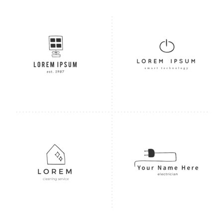 Housekeeping and home repairs theme. Vector hand drawn logo templates.