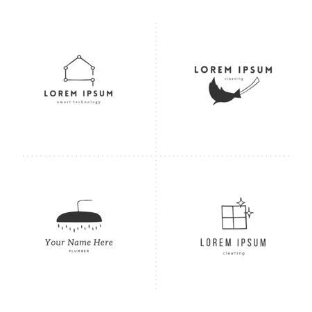 Vector hand drawn logo templates. Housekeeping and home repairs theme. Ilustração