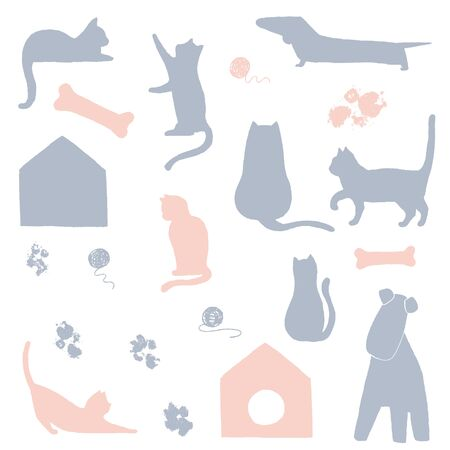 Vector hand drawn objects. Vector minimal illustrations for a pet related topic.