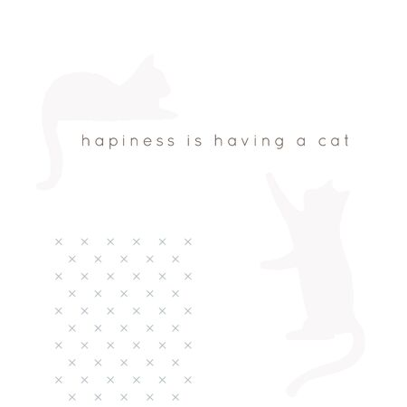 Vector hand drawn objects with a text. Vector minimal background for a pet related topic with cat silhouettes.