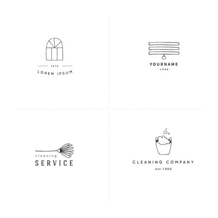 Hand drawn logo templates. Housekeeping and home repairs. Vector illustration.