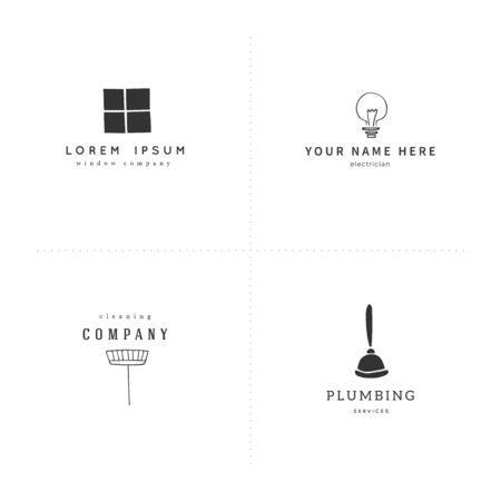 Vector set of hand drawn icons. Housekeeping and home repairs logo templates.