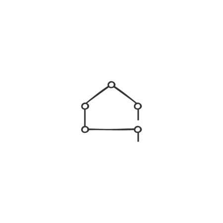 A house silhouette. Vector hand drawn icon. Smart technology concept.