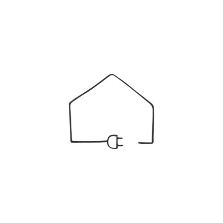 Vector hand drawn icon. A plug with wire that forms a house silhouette. Housekeeping and home repairs theme.