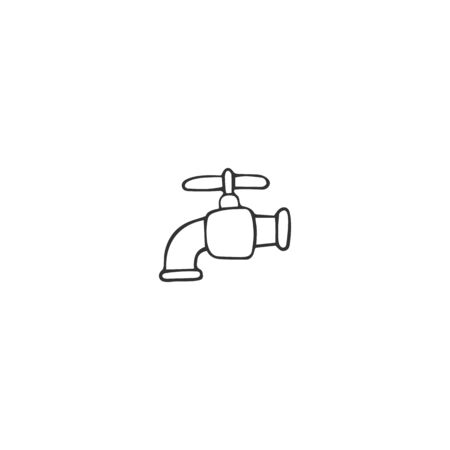 Vector hand drawn icon. Water tap silhouette. Plumbing and home repairs theme.