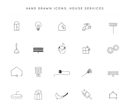 Set of vector hand drawn icons. Housekeeping and home repairs.  イラスト・ベクター素材