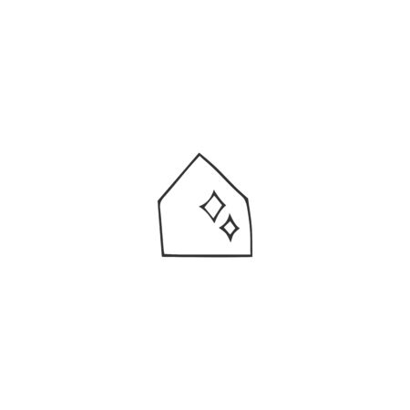 Vector hand drawn icon. Clean house silhouette. Housekeeping and home repairs theme.
