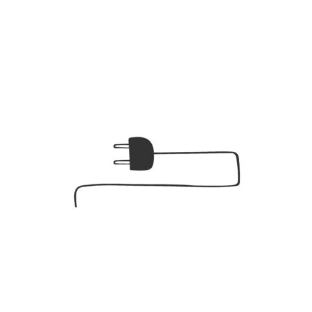 Vector hand drawn icon. A plug with wire. Housekeeping and home repairs theme.
