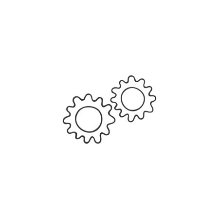 Vector hand drawn icon. Gears silhouette, clever mechanism concept. Housekeeping and home repairs theme.