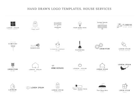 Set of vector hand drawn  templates. Housekeeping and home repairs.  イラスト・ベクター素材