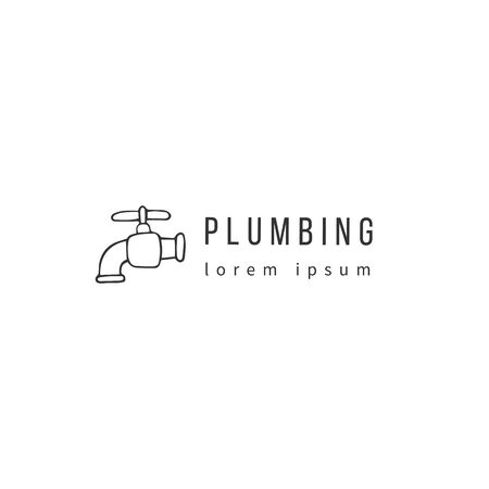 Plumbing and home repairs theme. Vector hand drawn   template. Water tap silhouette. Zdjęcie Seryjne - 137667727