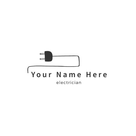 Vector hand drawn  template. A plug with wire. Housekeeping and home repairs theme.
