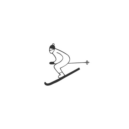 Vector hand drawn icon, a skier man. Active way of life. For professional sport or outdoor activities. Zdjęcie Seryjne - 137845129