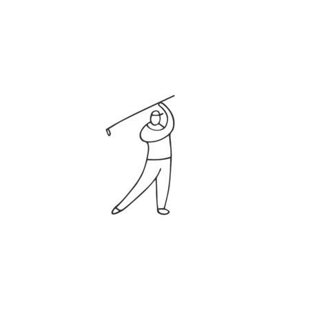 Vector hand drawn icon, a male golf player. Active way of life. Zdjęcie Seryjne - 137845130