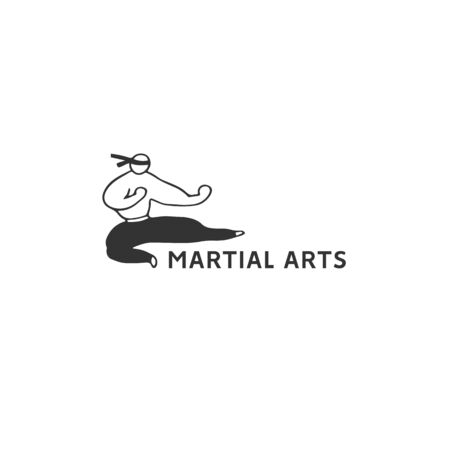 Vector hand drawn illustration template with a fighter man. Kind of sport, karate. Active way of life. Ilustracja