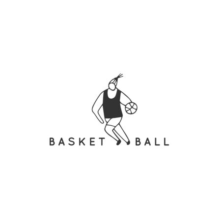 A male basketball player. Vector hand drawn illustration template. Professional sport. Active way of life.