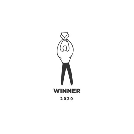 Vector hand drawn illustration template, winner, a man with a cup.