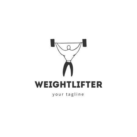 Vector hand drawn illustration template, a man raises the bar. In the gym. Sports, active way of life. Ilustracja