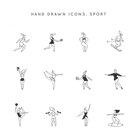 Set of vector hand drawn icons. Women in different sports. Active way of life.