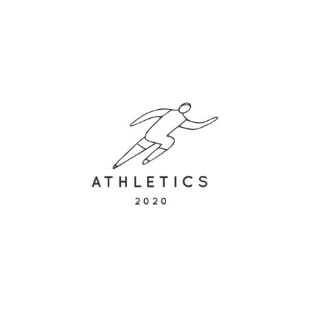 Vector hand drawn illustration template, a male athlete runner. Active way of life. Professional sport.