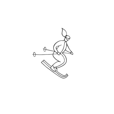 A skier woman. Vector hand drawn  element. For professional sport or outdoor activities. Active way of life.