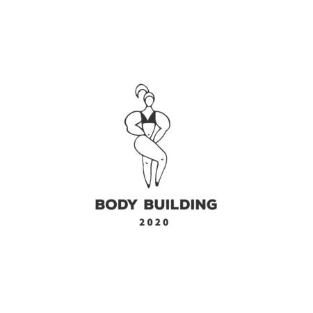 Sports, active way of life. In the gym. Vector hand drawn template, a bodybuilder woman.