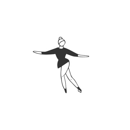 Vector hand drawn isolated icon, a figure skating woman.