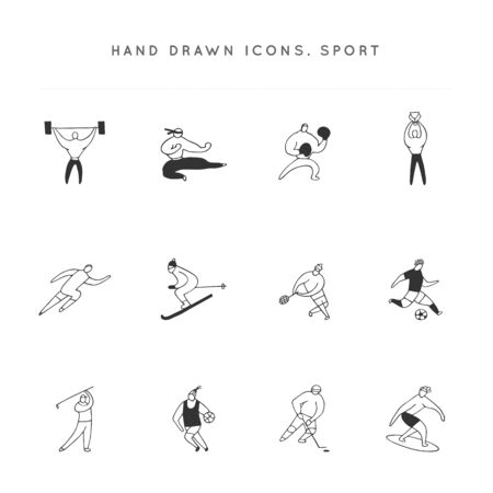 Men in different sports. Set of vector hand drawn icons. Active way of life. Archivio Fotografico - 138155240